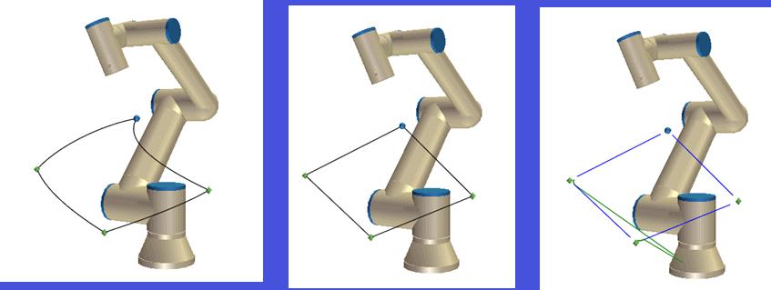 Porównanie ruchów robota. Od lewej MoveJ, MoveL, MoveP.