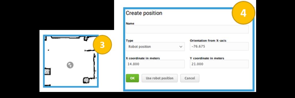 Widok interfejsu edytora map – dodawania pozycji robota