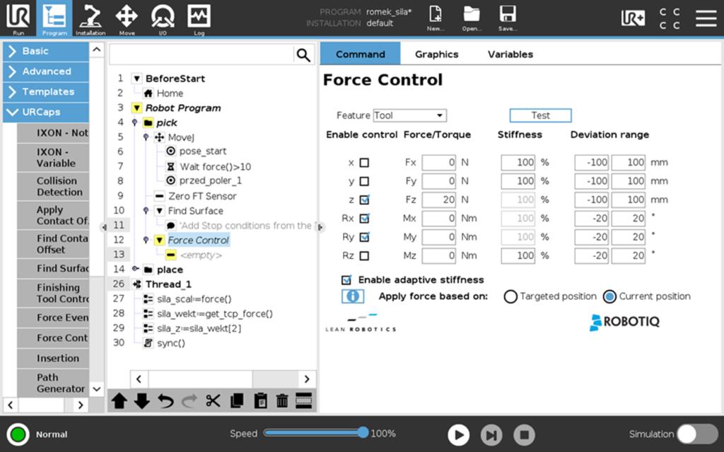 Funkcja Force Control.